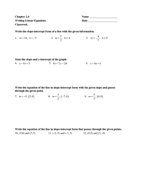 Writing Equations Of Lines Worksheet Chapter 2 4 Writing Linear Equations Worksheet for 7th