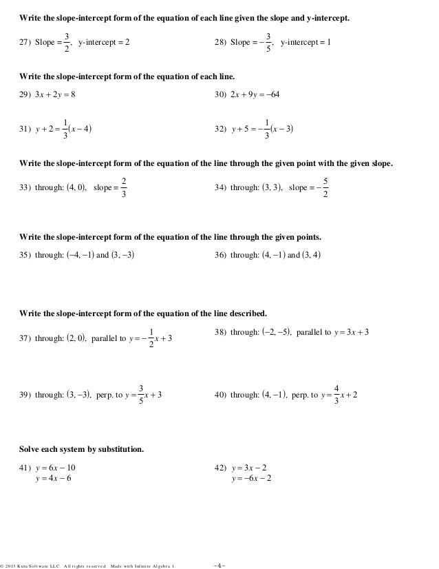 Writing Equations Of Lines Worksheet Home