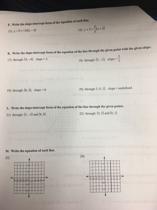 Writing Equations Of Lines Worksheet solved Writing Equations Lines Review A Write the Slo