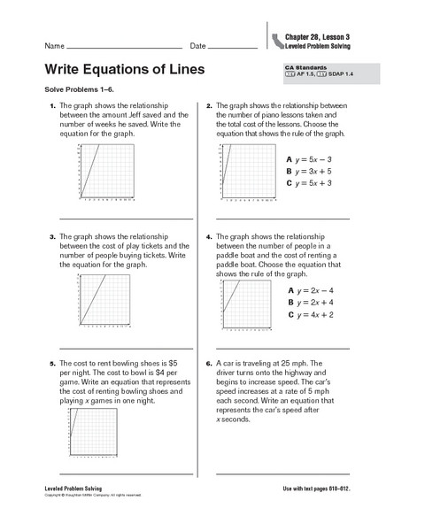 Writing Equations Of Lines Worksheet Write Equations Of Lines Worksheet for 5th Grade