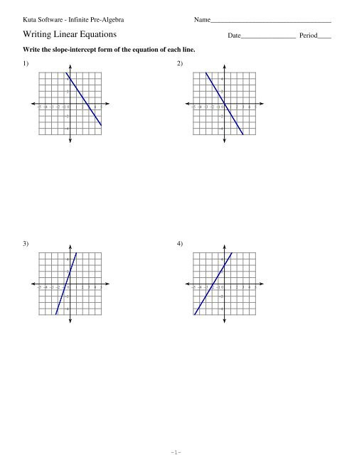Writing Equations Of Lines Worksheet Writing Linear Equations Kuta software