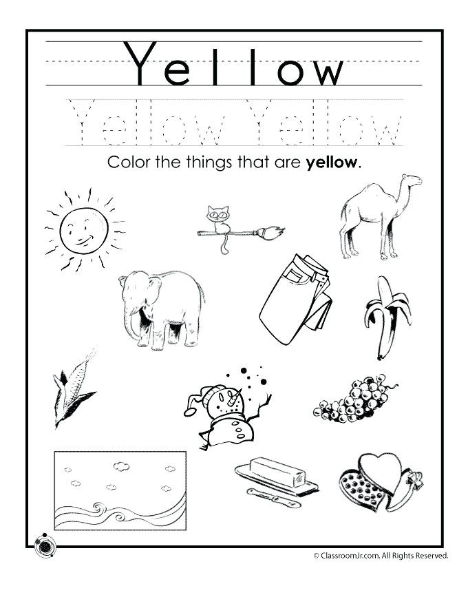 Yellow Worksheets for Preschool Coloring Worksheets for Preschool Color Yellow Worksheet In