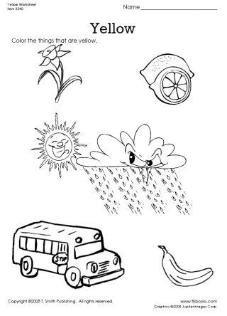 Yellow Worksheets for Preschool Snapshot Image Of Color Things that are Yellow Worksheet
